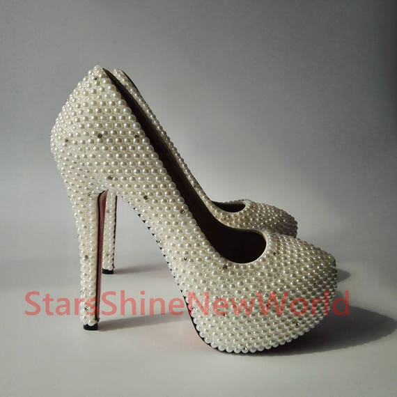 a58892ced12c Customize Bling Crystal Shoes White Pearls Women Wedding
