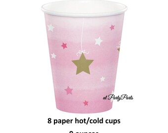 twinkle twinkle little star party cups, 9-ounce paper cups, pink and gold stars, white, girls baby shower, babys first birthday, 1st, pretty