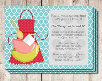 Cooking party invitation, kitchen wedding shower invitation, kitchen bridal shower, printable invitation, retro kitchen, kids cooking party