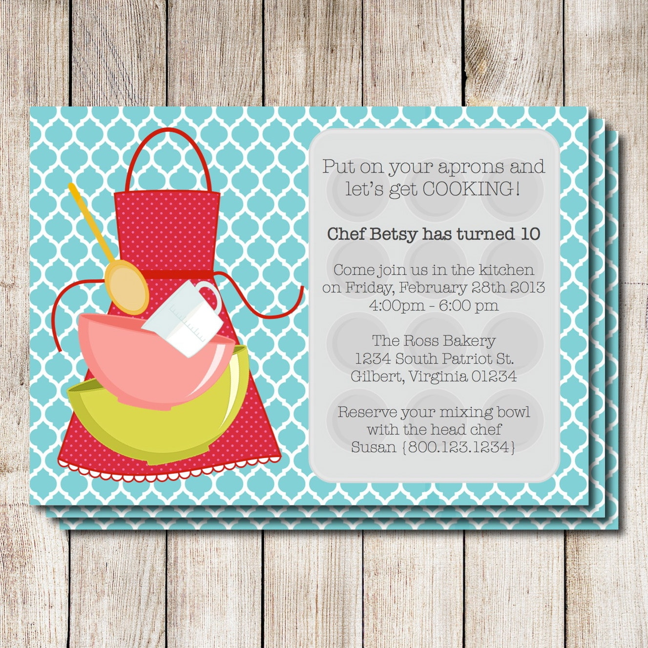 Cooking party invitation baking party invitation baking