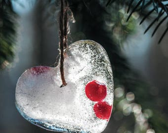 Ice Heart on fir-tree Postcard for Postcrossers - Fine Art Photograph