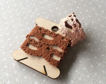 Handmade Vintage Lace Ring in Copper Electroformed Electroforming - Pattern 2