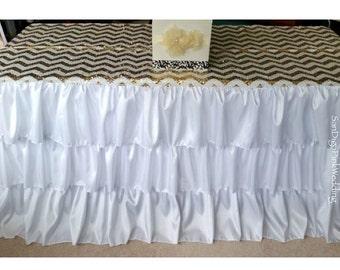 Ruffled Tablecloth, Ruffled Tableskirt, White Ruffled Tablecloth, White  Ruffled Tableskirt, Ruffled Wedding