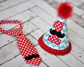 Little Man Mustache Party Hat and Little Guy Tie - Mustache Bash Birthday Party Cake Smash Outfit