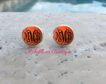 Basketball Monogram Earrings, Basketball Jewelry, Basketball Accessories, Personalized Basketball,Gifts for Her, Sports Gift, MB334