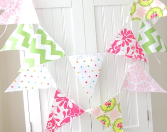 Fabric Bunting, Banner, Pennant Flags, Shabby Chic Photo Prop, Girl Birthday Party, Baby Shower, Bright Pink, Green, Vintage Chic Flowers