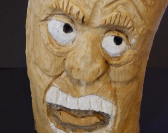 Garden Hand Carved Wooden face