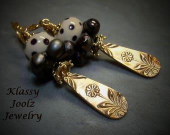 Bronze Handmade Floral Charms-Glass Lampwork Beaded Earrings-Artisan Lampwork Earrings-PMC Earrings-Tribal-Bohemian-Primitive Earrings-SRAJD