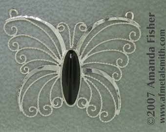 Filigree Butterfly- Silver and Onyx