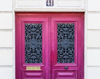 Paris Photo - Dark Pink Ornate Doors - Home Decor - Wall Art
