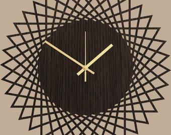 Large Wall Clock - Wood Wall Clock Savanna, Clock for Wall, Wood Decor, Geometric Modern Clock, Living Room Clock, Kitchen Clock, Home Decor