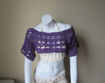 CROPPED TOP, crochet cropped top,  FESTIVAL cropped top,  crochet top, Purple, festival top, boho cropped top, gypsy cropped top