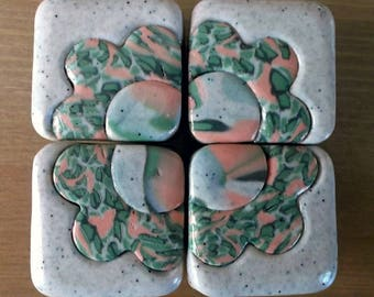 Buttons drawers or closets beige effect square stone with flower in shades of green and salmon