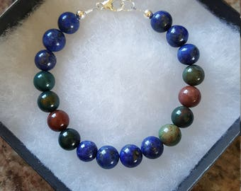 8 mm Lapis & Bloodstone Bracelet w/925 Sterling