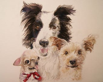 Pet portrait trio- Original watercolor