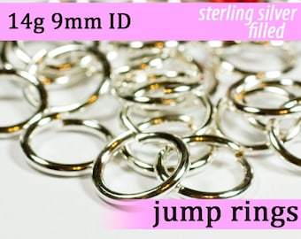 14g 9.0mm ID silver filled jump rings -- 14g9.00 jumprings links silverfilled silverfill