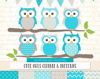 Patterned Tropical Blue Owls Clipart and Digital Papers - Bright Blue Owl Clipart, Owl Vectors, Baby Owls, Cute Owls