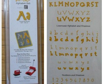 NEW Sizzix Sizzlits BOUNCE Alphabet Die Set uppercase lowercase #s punctuation shadows Works with Cuttlebug