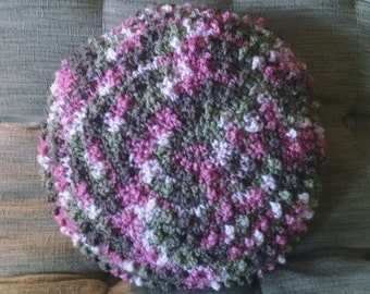 Pink and Green throw pillow. Crochet Handmade decor accent pillow