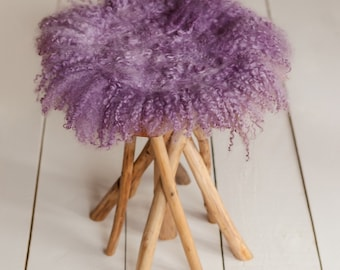 Curly Round Felted Blanket Newborn Photography Props Wool Stuffer Curly Felt OLD LAVENDER , PASTEL