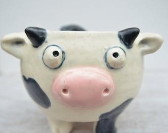 Cow Mug / Bessie the Cow / Holstein Cow / Black and White Cow Mug