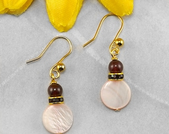 Garnet and Pink Mother of Pearl January Birthstone Earrings