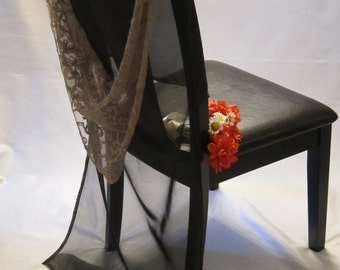 Minimalist Formal Chairback, Black Voile with Elegant Mocha Rose Almera Lace