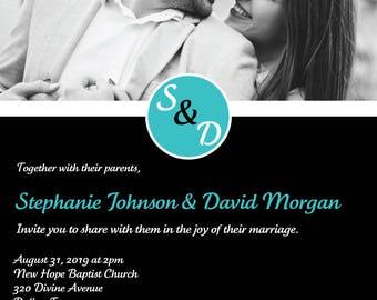 Black & Teal Wedding Invitation