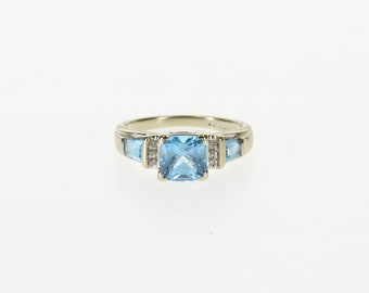 10k Three Stone Blue Topaz Diamond Accented Ring Gold