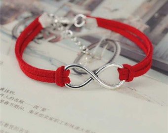 Leather Bracelet/ Infinity Bracelet/ Silver Plated