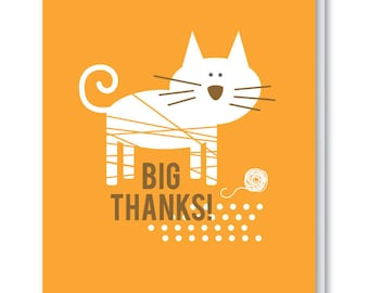 Thank You Card - Blank Greeting Card - Big Thanks Cat
