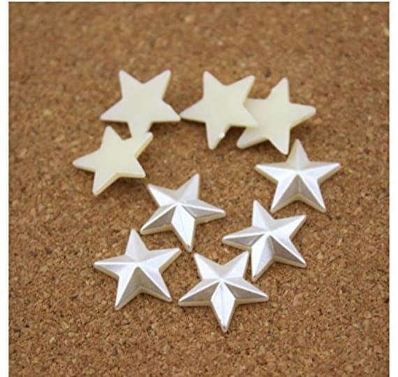 Cream Ivory Flat Back Pyramid Star Shaped Resin Pearls Craft Embellishments