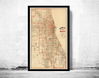 Old vintage map of Chicago 1893, United States of America
