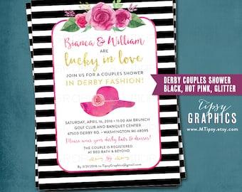 Kentucky Derby Race Day Party Invitation. Bridal Shower. bachelorette. Hens Day. Stripes Roses. Boho. Printable DiY Black Hot Pink Glitter