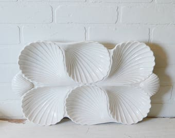 Shell Serving Platter, White Shell Serving Platter, Seashell Platter, FF Serving Platter, Coastal Serveware, Coastal Wedding, Coastal Decor
