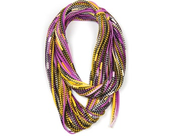 Yellow Scarf, Purple Scarf, Infinity Scarf, Gift for Her, Gift for Women, Statement Necklace, Scarf Women, Scarves for Women, Winter Scarf