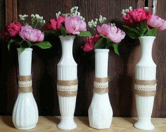 Milk Glass Vase Centerpieces