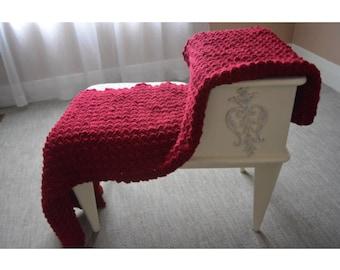 Red crochet blanket, crochet afghan