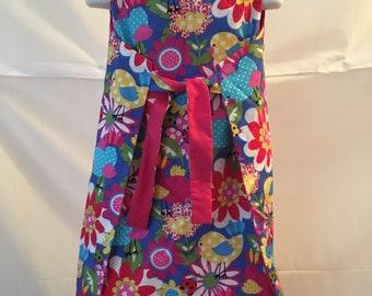 Girls 1960s Vintage Style Reversible Wrap Dress Size 5/6