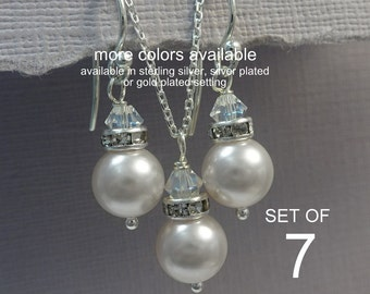Set of 7 Bridesmaid Jewelry Set,  Bridesmaid Gift, Swarovski White Pearl Bridesmaid Jewelry Set, Wedding Jewelry Set, Maid of Honor Gift