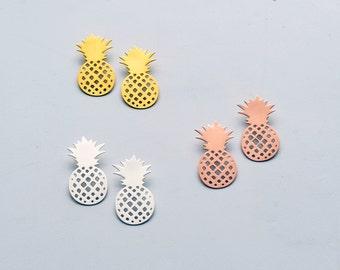 "Gold earrings, tropical earrings, pineapple earrings, statement earrings, ""Pineapple"" earrings"