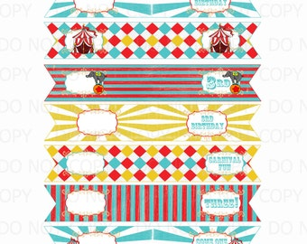 Printable DIY Customized Vintage Circus or Carnival Theme Straw Flags 3rd Birthday