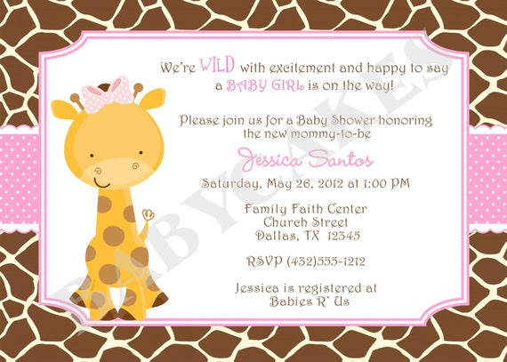 Girl Giraffe Baby Shower Invitation Invite Baby Sprinkle Pink