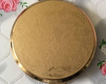 Vintage Stratton compact mirror, 1990s Stratton convertible compact, gift for her, gold tone powder compact, vintage compact,