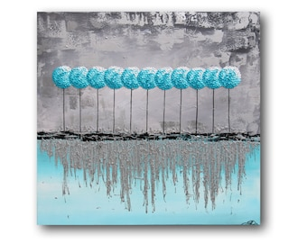 """Metal Wall Art, Silver Metallic Painting, Teal Painting, Turquoise Painting, Textured Painting, Palette Knife """"Icicles"""" 36"""" by SFBFineArt"""