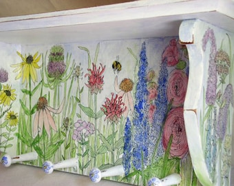 Farmhouse Painted Furniture Shelf Hand Painted with Garden Flowers Botanical Wildflowers Ready to Hang