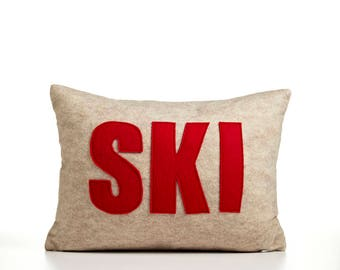 """Ski 10""""x14"""" decorative throw pillow"""