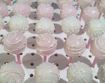 PINK and WHITE Cake Pops, All Colors Available, Quinceanera Cake Pops, Baby Shower Cake POps