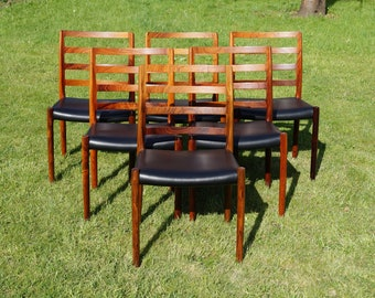 Set of 6 Niels O. Møller Nr. 85 Dining room-Chairs rosewood/Rosewood 60s