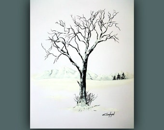 "Original Painting, Landscape Painting, Contemporary Art, Black and White Painting, Winter Painting on Paper 18""x24"""